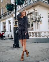 dress,mini dress,long sleeve dress,layered,brown boots,heel boots,crossbody bag