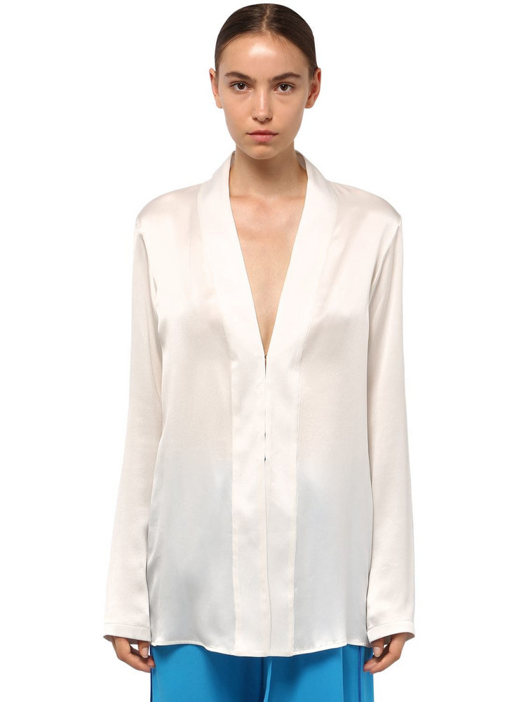 HAIDER ACKERMANN Satin V Neck Shirt in white