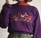 sweater,purple,floral