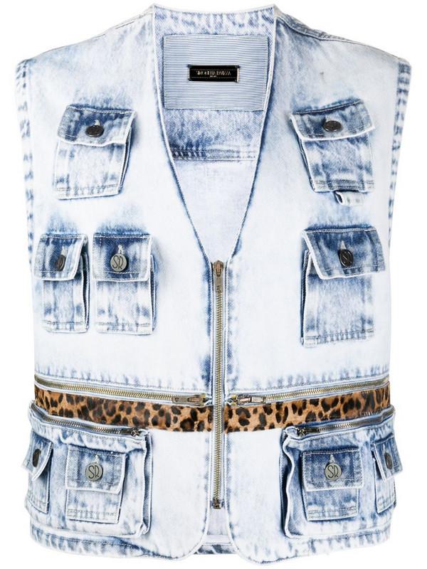 Simonetta Ravizza zipped sleeveless denim jacket in blue
