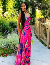 dress,colorful,maxi dress,strapless,gabrielle union,celebrity,pink dress
