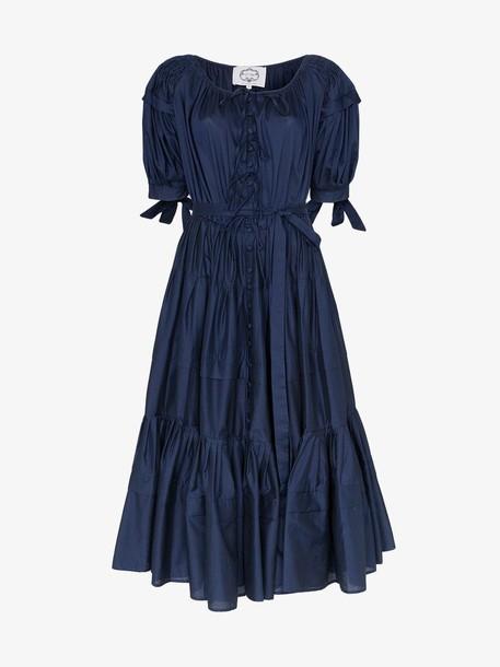 Evi Grintela Franca puff sleeve tiered dress in blue