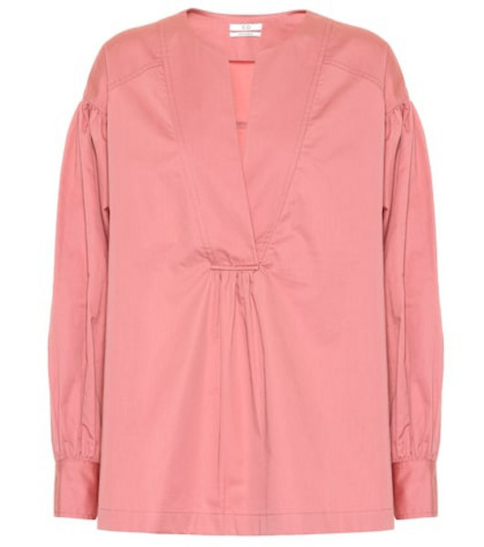 Co Cotton sateen top in pink