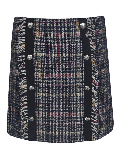 Veronica Beard Side Button Embellished Checked Skirt in blue / white