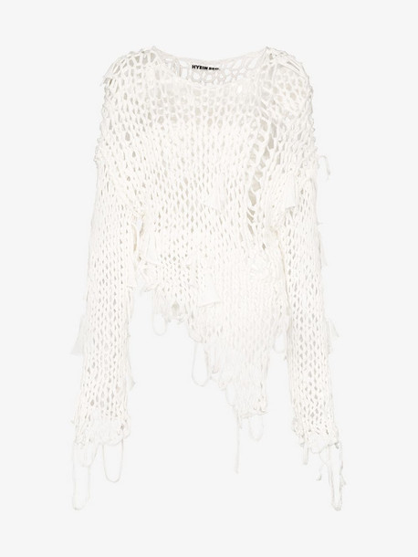 Hyein Seo knitted cotton jumper in white