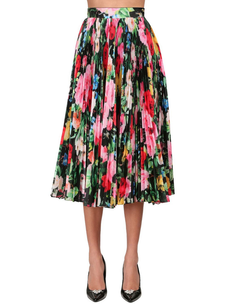 RICHARD QUINN Pleated Print Taffeta Circle Midi Skirt