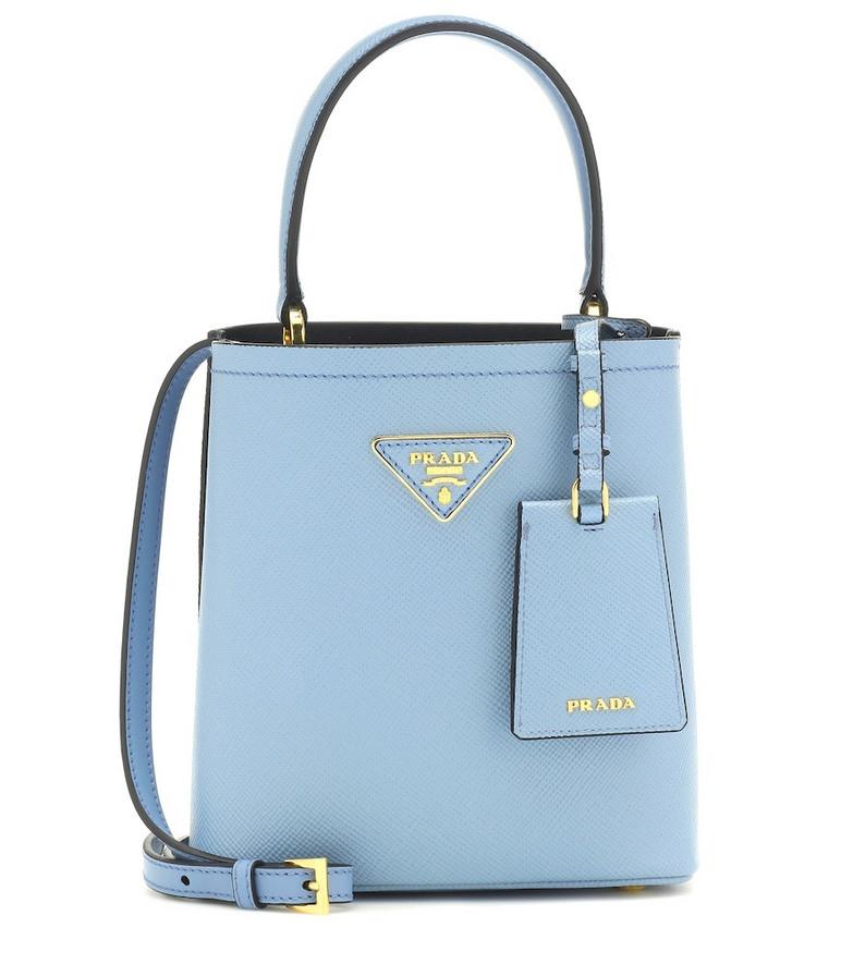 Prada Panier Small leather shoulder bag in blue