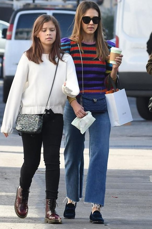 sweater striped sweater stripes jessica alba celebrity casual fall outfits