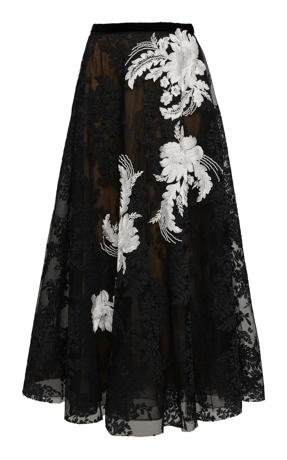 Marchesa Point D'Espirit Tulle and Corded Lace Midi Dress in black