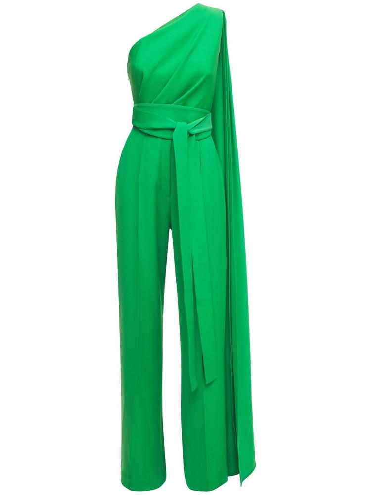 ELIE SAAB One Shoulder Crepe Jumpsuit in green