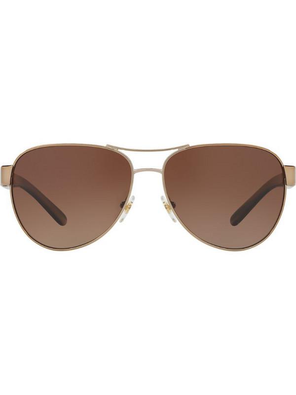 Tory Burch aviator shaped sunglasses in brown