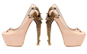 pumps,pink,ballerina,alexander mcqueen,metal heel,high heels,pink shoes,brown shoes,shoes