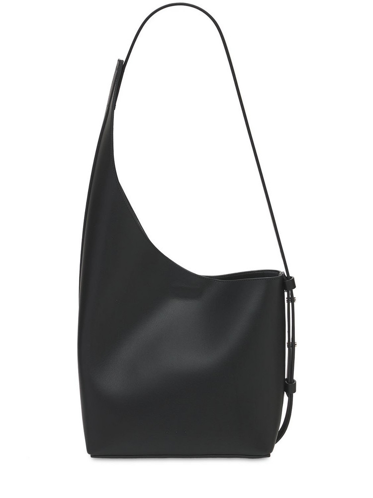 AESTHER EKME Demi Lune Smooth Leather Shoulder Bag in black
