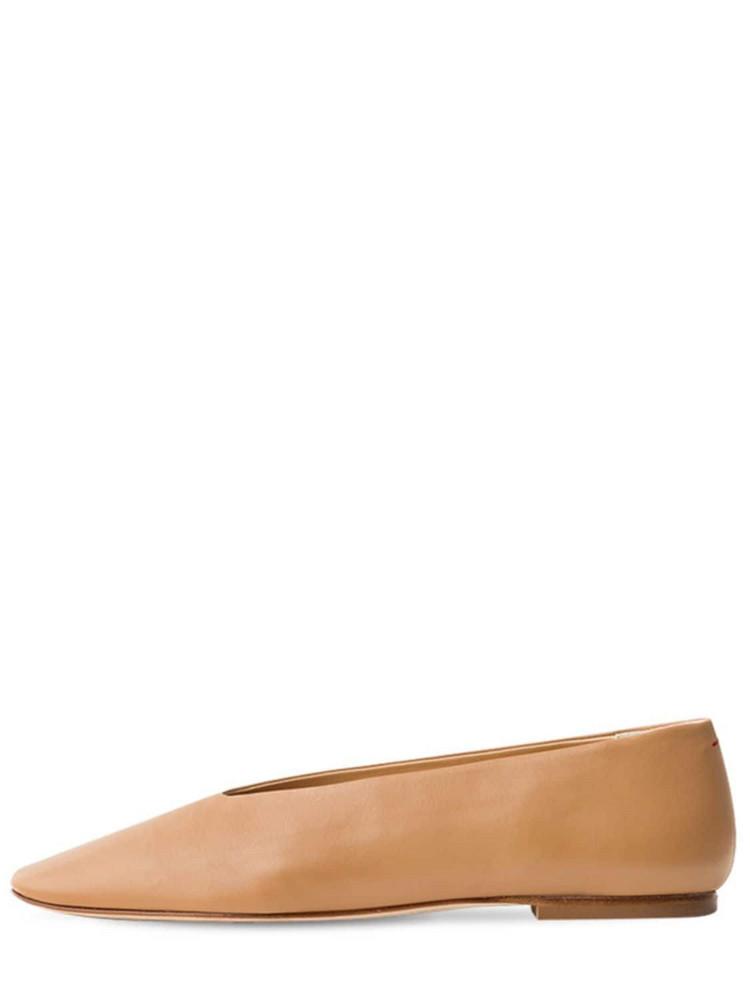 AEYDE 10mm Kirsten Leather Ballerinas in beige