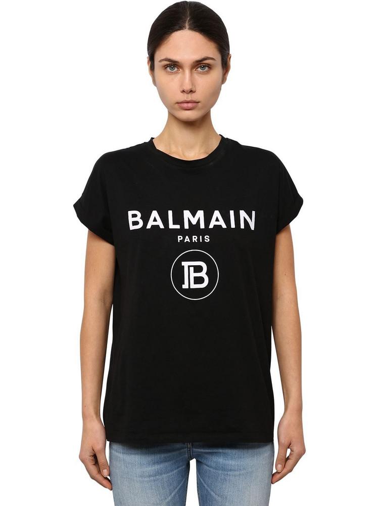 BALMAIN Flocked New Logo Cotton Jersey T-shirt in black