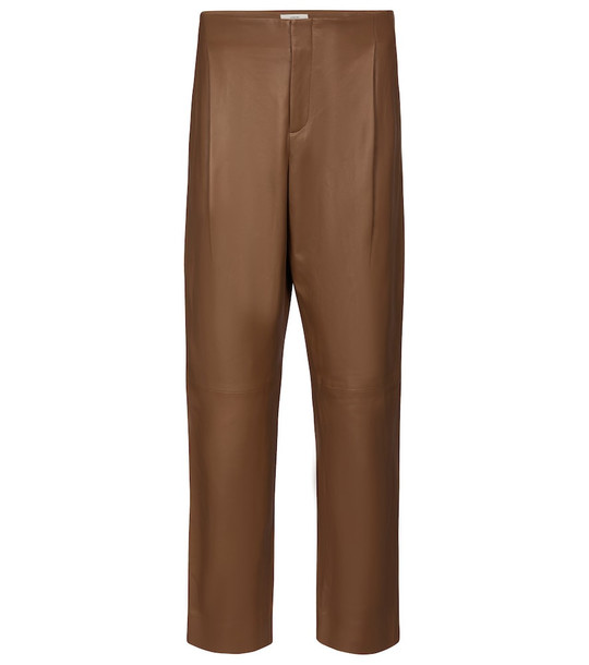 Vince High-rise tapered leather pants in brown