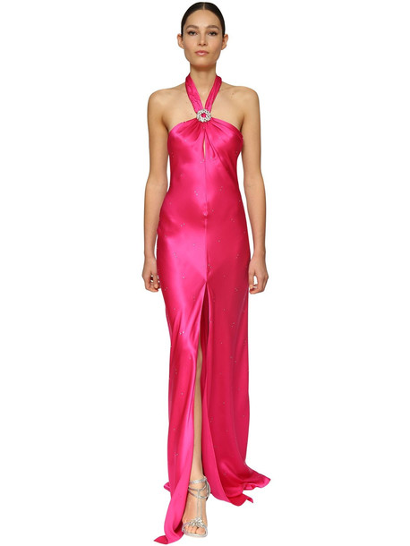AZZARO Silk Satin Long Dress W/ Crystal Buckle in fuchsia