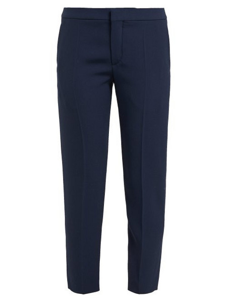 Chloé Chloé - Cropped Tailored Crepe Trousers - Womens - Navy