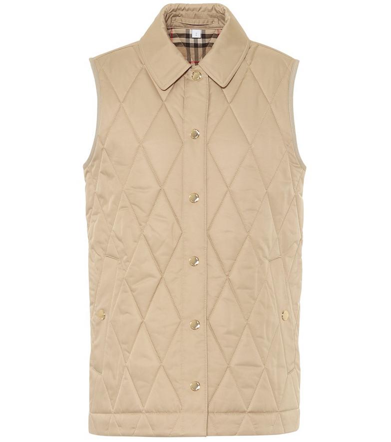 Burberry Cropthorne quilted vest in beige