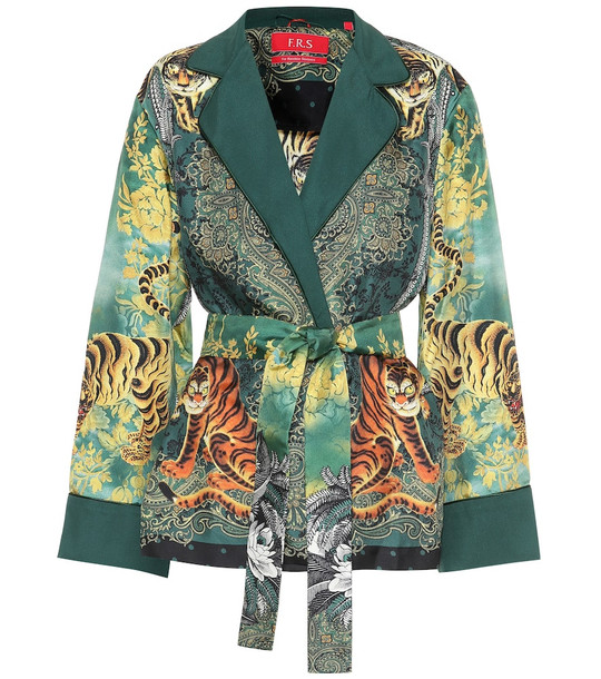 F.R.S For Restless Sleepers Giocasta printed silk jacket in green