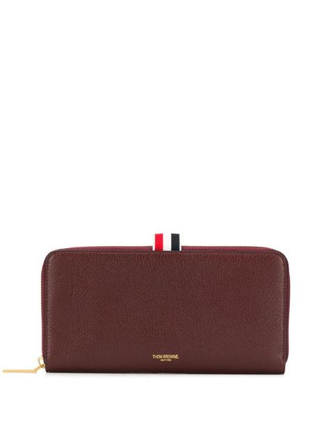Thom Browne pebbled zip-around purse in red