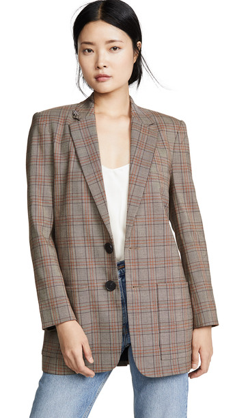 Tibi Long Blazer in black / brown / multi