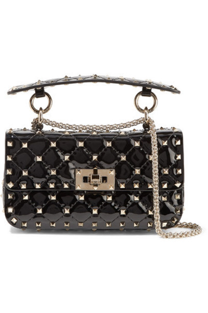 Valentino - Valentino Garavani The Rockstud Spike Small Quilted Patent-leather Shoulder Bag - Black
