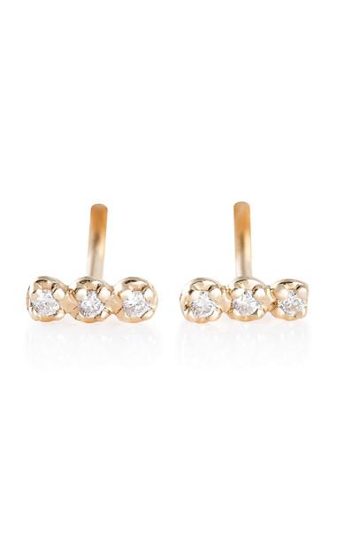 Ginette NY 18K Rose Gold Diamond Earrings in pink