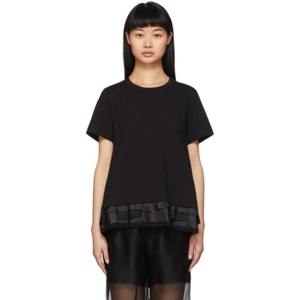 Sacai Black Lace Ruffle T-Shirt