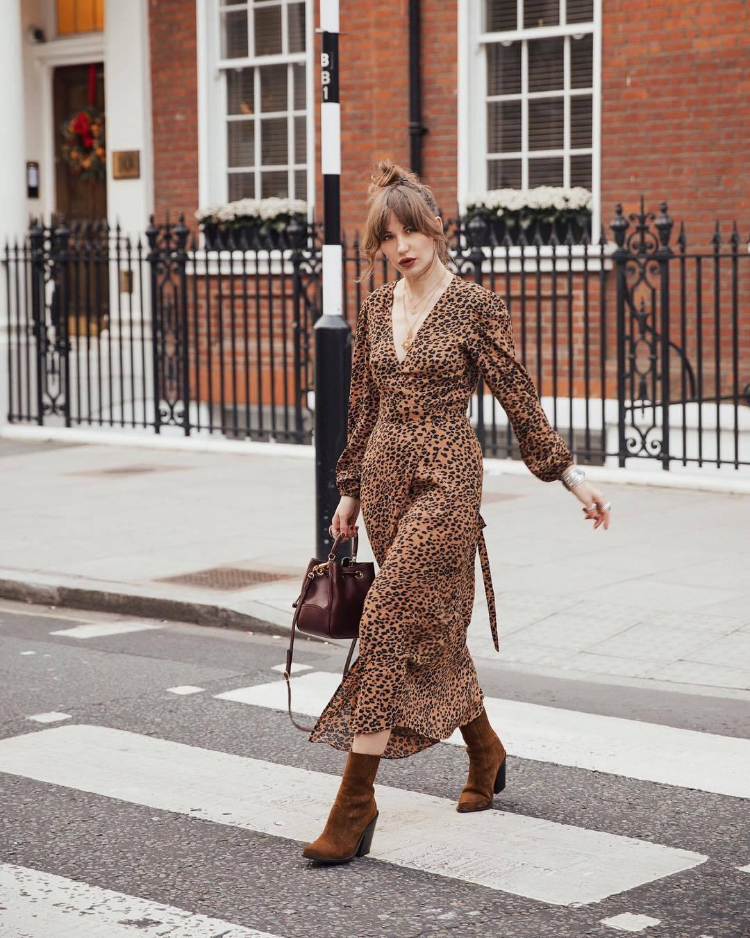 dress midi dress leopard print wrap dress brown boots heel boots brown bag crossbody bag