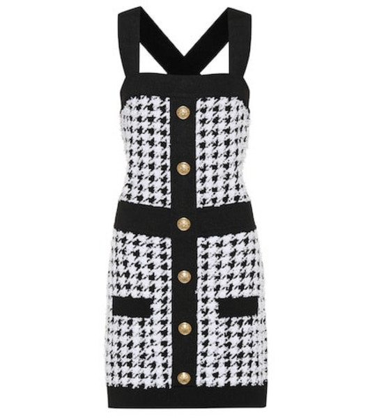 Balmain Houndstooth knit minidress in black