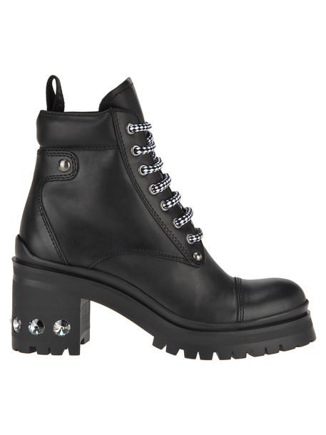 Miu Miu Rhinestone Studded Heel Hiking Boots in black