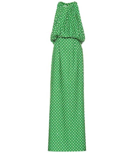Calvin Klein 205W39NYC Polka-dot satin twill gown in green
