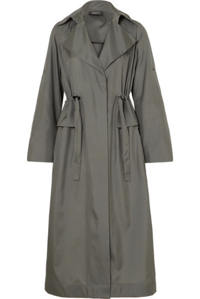 Akris - Ediz Mulberry Silk-satin Coat - Gray
