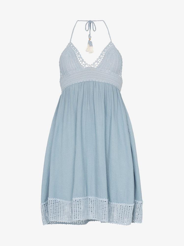 She Made Me She Made Me Aahanna Dress Halterneck crochet in blue