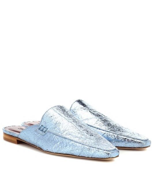 Sies Marjan Lia metallic leather slippers in blue