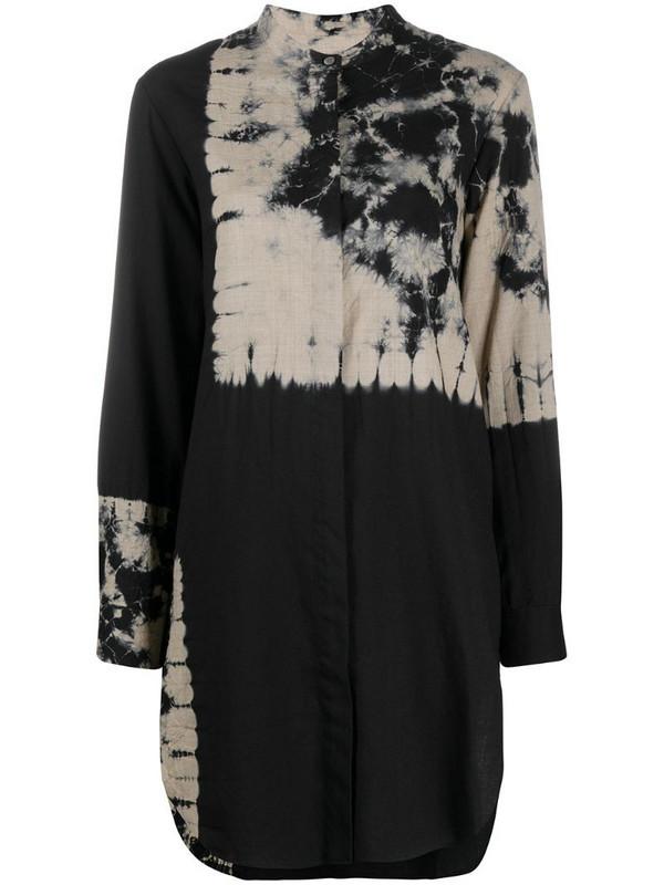 Suzusan tie-dye print longline shirt in black