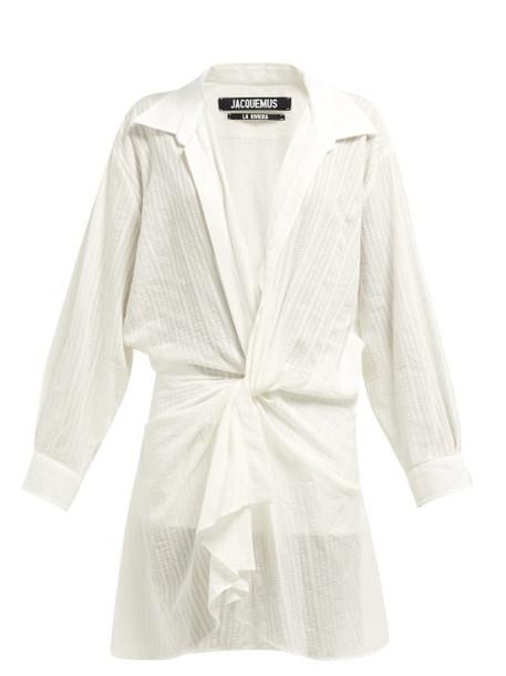 Jacquemus - Alassio Knot Front Cotton Blend Dress - Womens - White