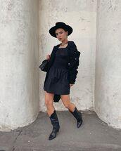 dress,black dress,mini dress,black boots,black jacket,felt hat,black bag
