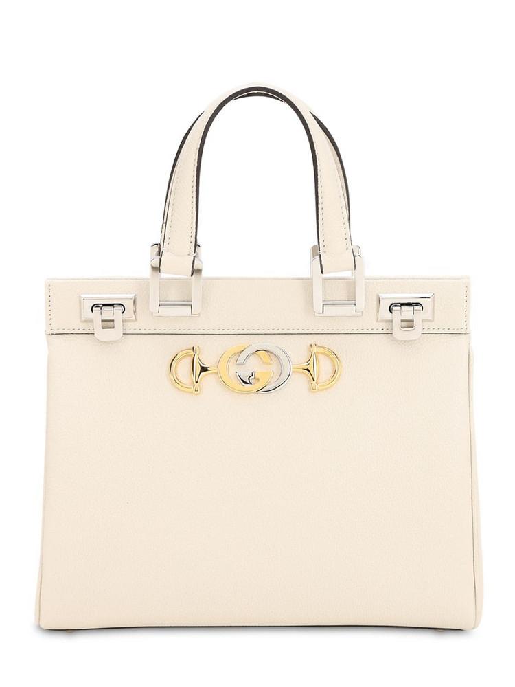 GUCCI Small Zumi Leather Bag in white