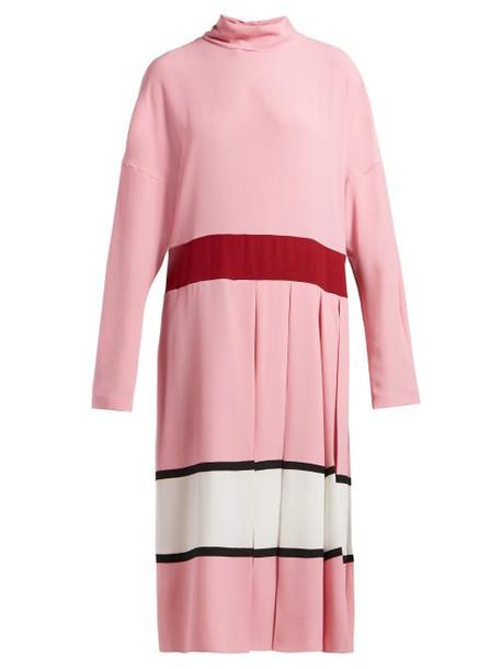 Marni - High Neck Pleated Midi Dress - Womens - Pink White