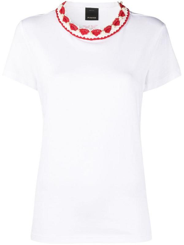 Pinko crochet-neck t-shirt in white