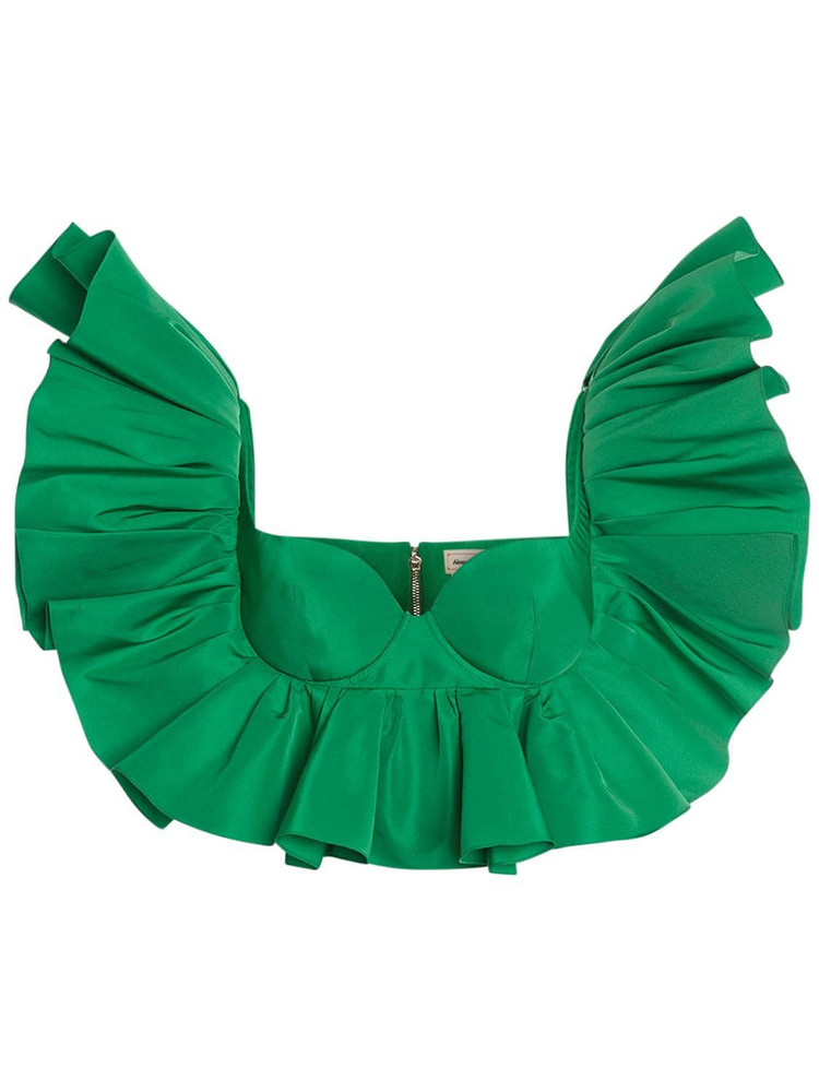 ALEXANDER MCQUEEN Faille Corset Ruffled Bra Top in green