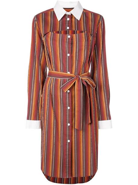 Rosie Assoulin striped shirt dress in orange