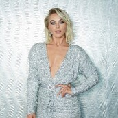 dress,silver,silver dress,embellished dress,embellished,wrap dress,sparkly dress,julianne hough
