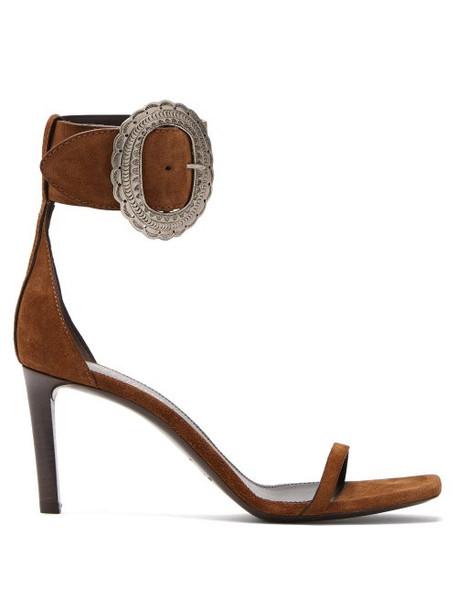 Saint Laurent - Joplin Suede Sandals - Womens - Tan