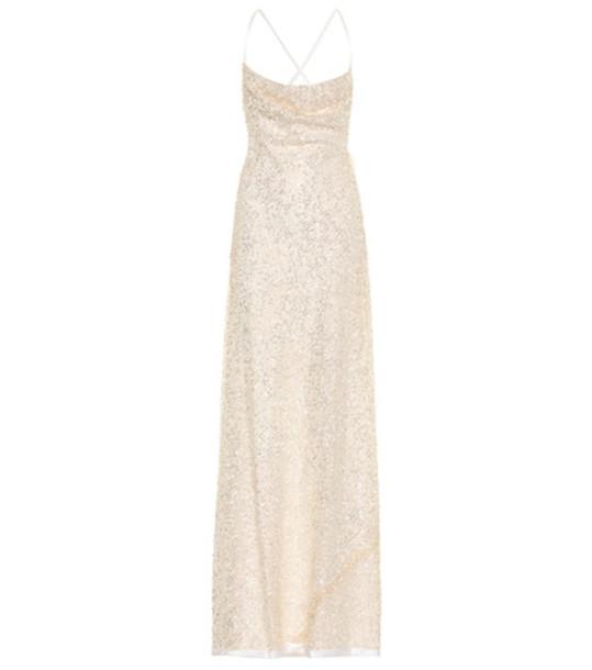 Galvan Whiteley sequined gown in beige