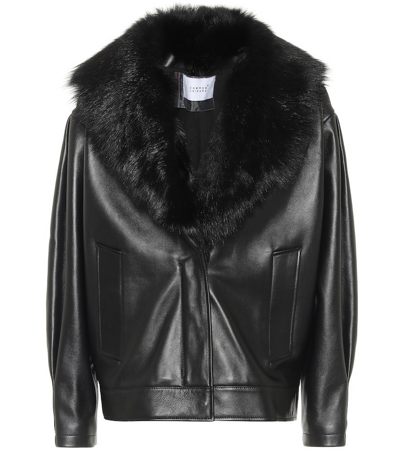 Common Leisure Faux fur-trimmed leather jacket in black