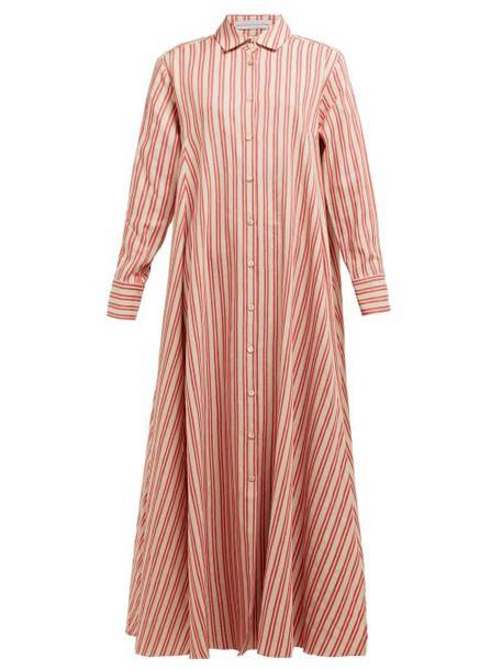 Palmer/harding Palmer//harding - Casablanca Striped Cotton Linen Poplin Shirtdress - Womens - Red Stripe