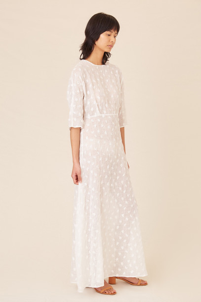 Mansur Gavriel Floral Embroidered Linen Fine Dress - White